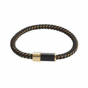 Stainless steel Gold/Black leather cable carbon fibre mens bracelet