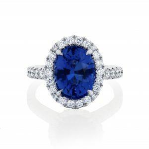 Platinum 4.15ct oval blue sapphire and diamond ring