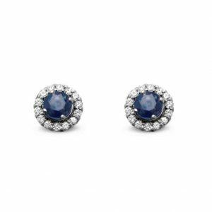 18ct white gold sapphire diamond halo stud earrings
