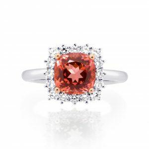 18ct white & rose gold 2.82ct cushion pink tourmaline and diamond ring