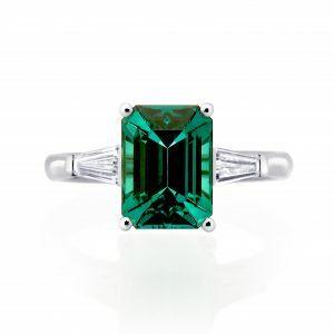 Platinum 3.09ct emerald cut indicolite tourmaline and diamond ring