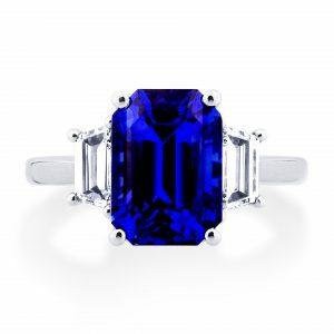 Platinum 5.12ct emerald cut sapphire and diamond ring