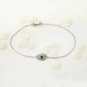 18ct white gold sapphire and diamond evil eye bracelet