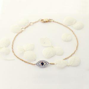 18ct rose gold sapphire and diamond evil eye bracelet
