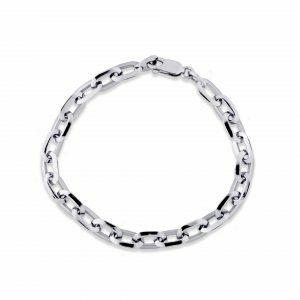 18ct white gold long faceted link bracelet