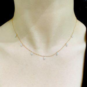 18ct rose gold diamond set leaf style drop necklace